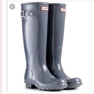 Hunter Original Glossy Tall Boots Gray/blue Size 9
